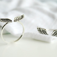 Angel Wing Personalized Ring .925Silver Sterling Ring Silver Ring