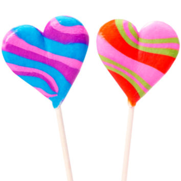 Assorted Crazy Hearts Lollipops: 12-Piece Box