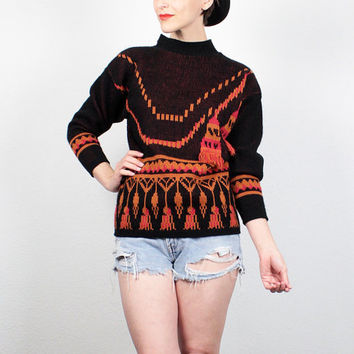 Vintage 80s Sweater New Wave 1980s Sweater Black Red Orange FRINGE Tassel Cosby Sweater Mod Hipster Print Pullover Jumper S Small M Medium