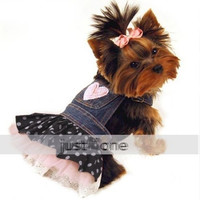 Pet DOG APPAREL Clothes Costume Dress Denim Tutu Skirt XS, S M L XL For wedding = 1929985924