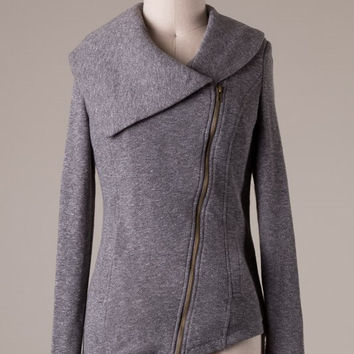 Knit Zipper Jacket - Grey