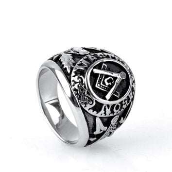 Master Mson Freemason Men's Silver Ring Free Mason Stainless Steel Masonic Ring