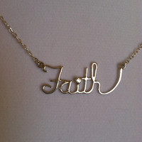 Faith Necklace with 2mm CZ - Sterling Silver