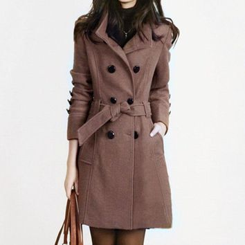 1PC Autumn Trench Coat Double Breasted Wool Coat Women Basic Coats Slim Fit Female Overcoat Casaco Feminino Abrigos Mujer Q014