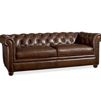 CHESTERFIELD LEATHER UPHOLSTERED GRAND SOFA, POLYESTER WRAP CUSHIONS, LEATHER COCOA