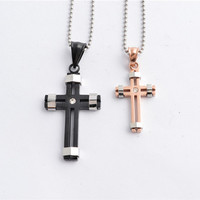 2014 new fashion rose gold black lovers 316L stainless steel rhinestone cross couple pendant necklace jewelry SP0357