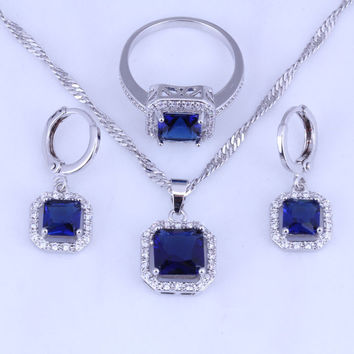 Small Square Blue Sapphire & Cubic Zirconia Hoop Earring / Pendant Necklace / Ring 925 Stamp Silver Plated Jewelry Sets H0272