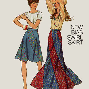 Vintage 1970s Retro Bias Swirl Skirt in Maxi & Midi Lengths Sewing Pattern Simplicity 6261 70s era Pattern Size 12 Hip 36 UNCUT