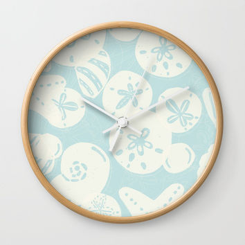 Cream Seashells on Aqua Wall Clock by Noonday Design