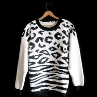 80s Cheetah Print Sweater with Wooden Beads Oversized Cotton Knit Black Cream Animal Print