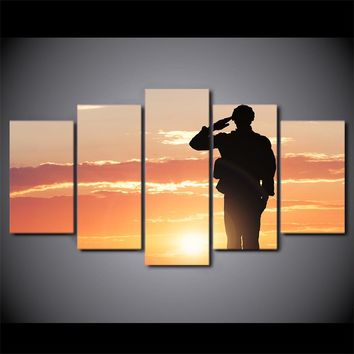 """5 piece canvas art - Sunset military soldier silhouette at sunset -optional 80"""""""