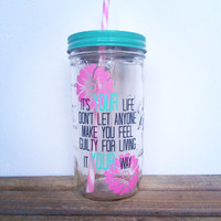 Personalized Tumbler - Mason Jar Tumbler, 24oz Mason Jar Tumbler, Mason Jar with Straw, Personalized Gift, Mason Jar To Go Cup