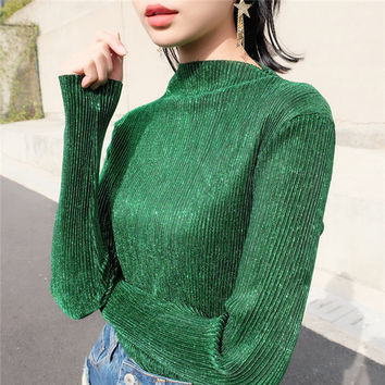 New Fashion Women Camisetas clothing Turtle-neck Vintage T shirts Women Top Full Sleeve Female Pleated tops 72231 GS