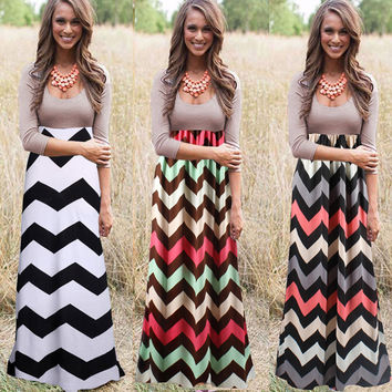 Women Fashion Casual Sexy Boho Maxi  Long Evening Formal Party Sundress Beach Dress Long Sleeve