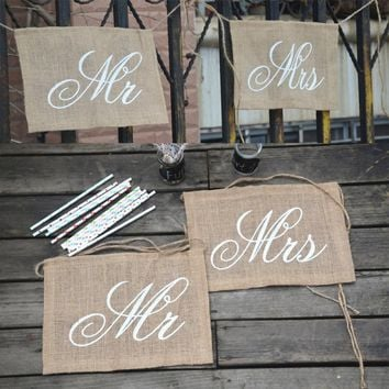 New Arrival Mr and Mrs Tag Burlap Chair Banner Sign Garland Rustic Wedding Party Decoration