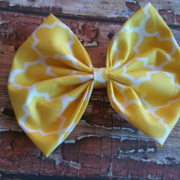 Yellow hairbow, extra large hairbow, vintage style hair bow
