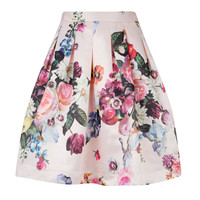 FLOWTII - Oil painting printed skirt - Nude Pink | Womens | Ted Baker UK