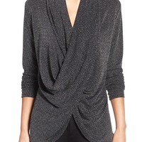 Chaus Herringbone Sparkle Knit Faux Wrap Top | Nordstrom