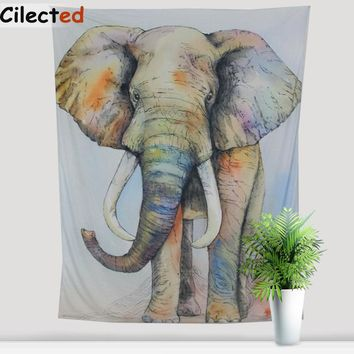 Cilected India Elephant Tapestry Wall Hanging Gobelin Cotton And Polyester Room Decoration Painting Elephant Bed Linen Twin Size