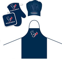 Houston Texans NFL Barbeque Apron, Chef's Hat and Pot Holder Deluxe Set