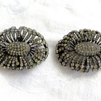 Vintage Art Deco Shoe Clips, Rhinestone Sterling Shoe Clips, Vintage Shoe Accessories