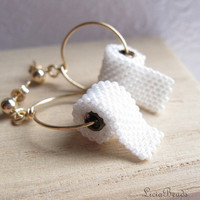 Toilet Paper earrings on gold, post earrings, allow 2 weeks before shipping