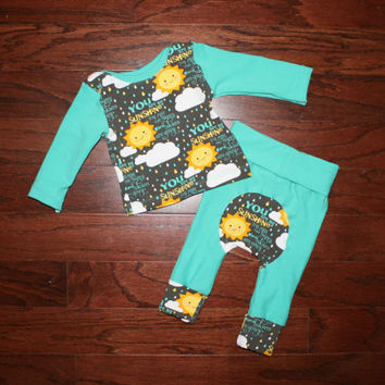 Maxaloones Newborn to 6 month Squishiloones, You Are My Sunshine cloth diaper pants, dark mint pants, 3 month long sleeve shirt