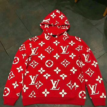 LV fashion loose print hoodie red hooded velvet sweater high quality I-YQ-ZLHJ