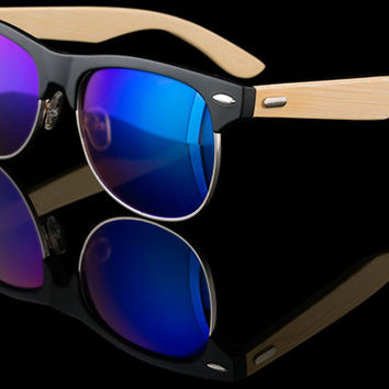 "Real Bamboo Wood Wayfarer Sunglasses ""Shoots-CM"""
