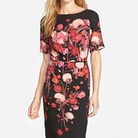 Women's Adrianna Papell Placed Floral Print Crepe Sheath Dress,