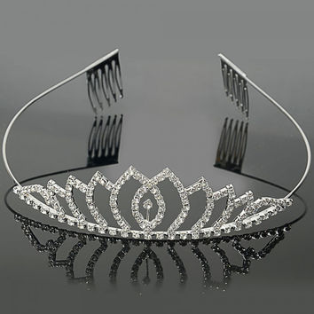 Small Wave Shape Rhinestone Crown Hair Comb Pin Tiara Hair Accessories