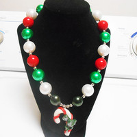 Candy Cane Christmas Bubblegum Chunky Beaded Necklace