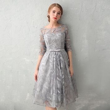 PotN'Patio Half Sleeves Lace Evening Party Elegant O-neck Sexy Backless Gray Short Prom Dresses 2017