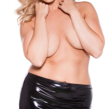 Plus Size Open Back Vinyl Mini Skirt