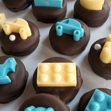Baby Shower Party Favors Baby Shower Chocolate Baby Toys atop chocolate covered Oreos, Party favors , Kids Birthdays fun chocolates