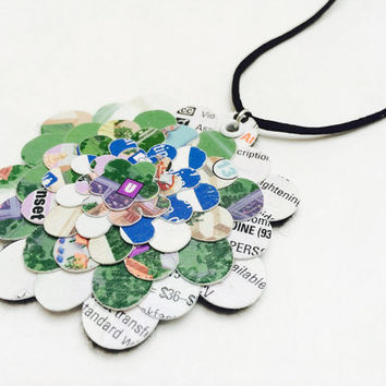 Disney necklace, Paper necklace,  Disney Park map, Disney wedding, upcycled jewelry, bridesmaid gift, first anniversary gift, paper jewelry