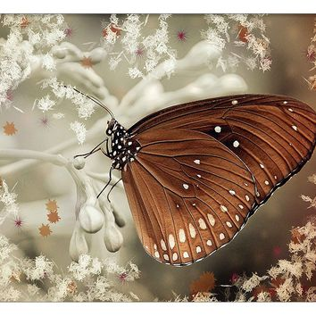 Monarch Butterfly Vintage Picture on Canvas Hung on Copper Rod, Ready to Hang, Wall Art Décor