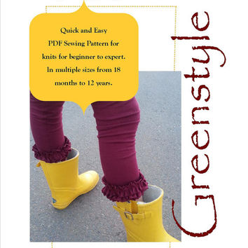 Lucy Ruffle Leggings with Hem Options PDF Sewing Pattern for Girls Size 18 months Through 12 years