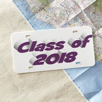 Class of 2018 3D License Plate, Dark Violet License Plate