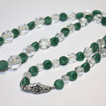 Vintage Malachite Crystal Bead Necklace by patwatty on Etsy
