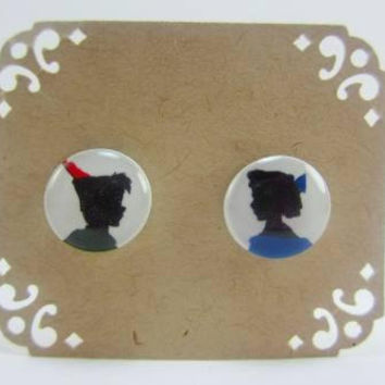 Peter Pan and Wendy Darling Silhouette Stud Post Earrings