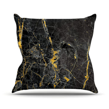 "KESS Original ""Gold Fleck Black Marble"" Digital Abstract Throw Pillow"