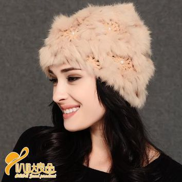 Pearl Flower rabbit small collar winter fur scarf ladies fashion sleeve head scarf. Fashionable wool hat knitted hat D997