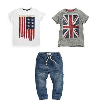 ST110 free shipping new boys summer clothes set with British and American flag baby clothes T-shirts + jeans kids clothes retail