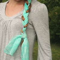 Mermaid Scarf.  Aqua. Mint. Sea Foam.  Hand Painted Silk Scarf. Fantasy Collection. Skinny Scarf.