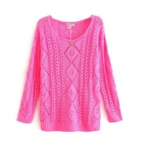 Magic Pieces Woman's Geometric Knit Round Neck Sweater 080848 Color Rose red Size M