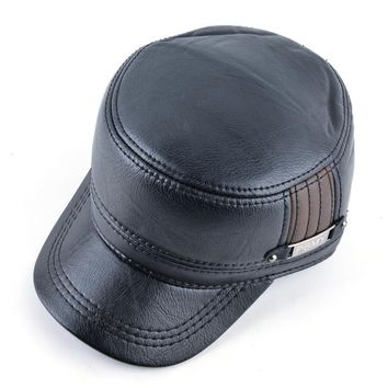 Winter mens leather cap warm hat baseball cap with ear flaps russia flat top caps for men casquette