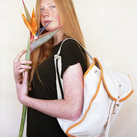 White & Orange Heap Line Backpack - Handcrafted street style backpack - Vintage inspired retro bag
