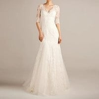 Lace wedding dress, Bridal dress, bridal gown--BAILEA