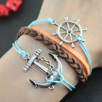 Anchor Rudder Bracelet---Antique Silver anchor ,rudder Real leather Bracelet, brown braid leather bracelet